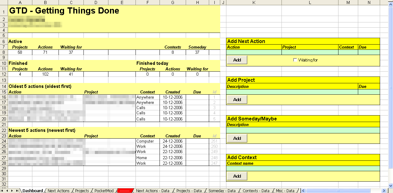 Implementing GTD with Excel : Getting Things Done